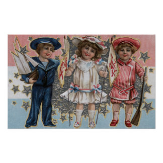 Kids in Blue, White and Pink Poster