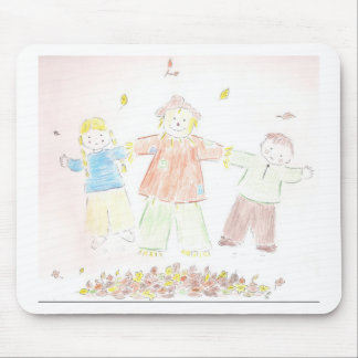 kids in leaves mouse pad