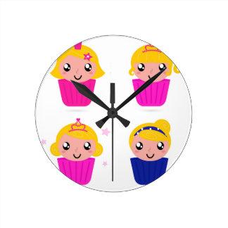 Kids in muffins round clock