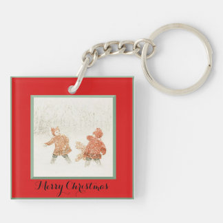 Kids in Snow Christmas Key Chain