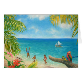 """Kids in the Beach"" blank card"