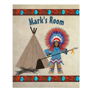KIDS' INDIAN CHIEF POSTER - PERSONAIZE