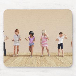 Kids Jumping Playing Inside the House Illustration Mouse Pad