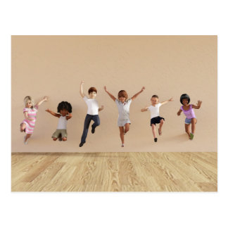 Kids Jumping Playing Inside the House Illustration Postcard