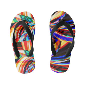 kids kaliedoscope flip flops thongs