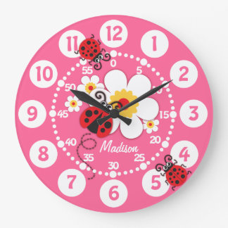 Kids ladybug & flowers cute pink girls wall clock