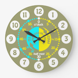 Kids learn to tell time army green wall clock