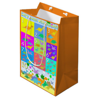 Kids Learning with Dinosaurs ABC and Counting Medium Gift Bag