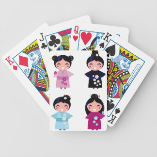 Kids little cute geishas bicycle playing cards