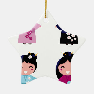Kids little cute geishas ceramic ornament