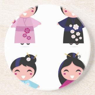 Kids little cute geishas coaster