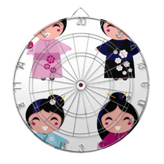 Kids little cute geishas dartboard