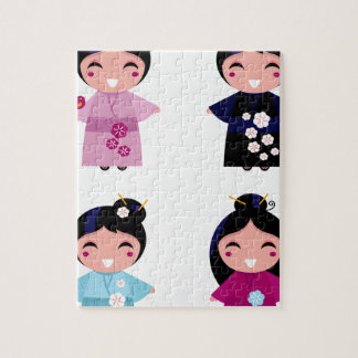 Kids little cute geishas jigsaw puzzle