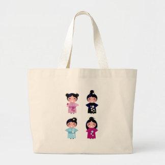 Kids little cute geishas large tote bag