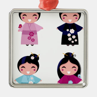 Kids little cute geishas metal ornament
