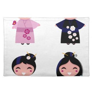 Kids little cute geishas placemat