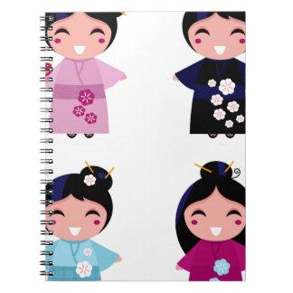 Kids little cute geishas spiral notebook