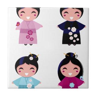 Kids little cute geishas tile