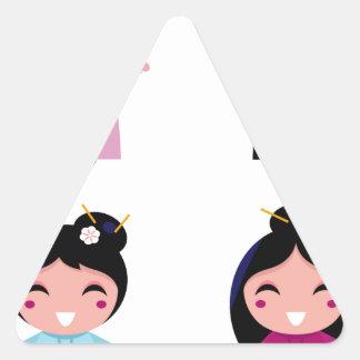 Kids little cute geishas triangle sticker