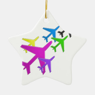 KIDS LOVE Aeroplane avion vol voyageurs GIFTS FUN Double-Sided Star Ceramic Christmas Ornament