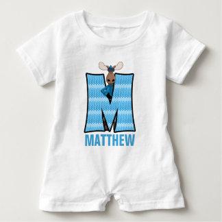 "Kids ""M"" Monogrammed | Blue Knit Moose Baby Bodysuit"
