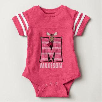 """Kids """"M"""" Monogrammed   Pink Knit Moose Baby Bodysuit"""