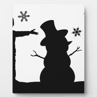 Kids Making Snowman Christmas Silhouette Scene Plaque