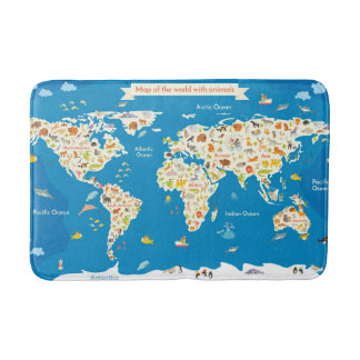 Kids Map of the World With Animals Bath Mats