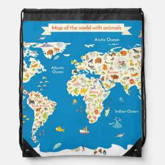Kids Map of the World With Animals Drawstring Bag