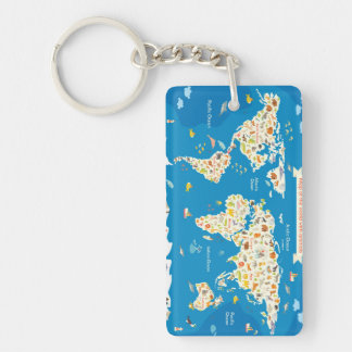 Kids Map of the World With Animals Key Ring