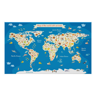 Kids Map of the World With Animals Poster