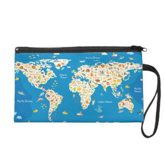 Kids Map of the World With Animals Wristlet Clutches