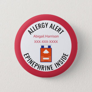 Kids Medical Alert Allergy Epinephrine Inside 6 Cm Round Badge