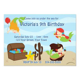 Kids Mermaid Pool Birthday Party Personalized Invitation
