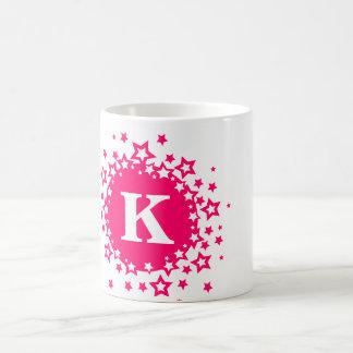 Kids Monogram Initial Pink Star Gift Mug