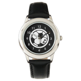 Kid's Monogram Soccer Watch Black