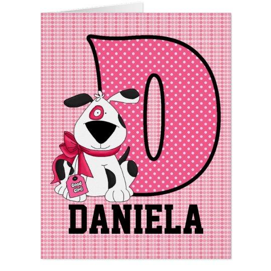 """Kid's Monogrammed """"D"""" Pink Dog Card"""