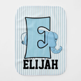 "Kid's Monogrammed ""E"" Blue Elephant Burp Cloth"