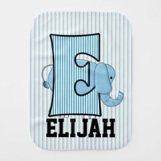 "Kid's Monogrammed ""E"" Blue Elephant Burp Cloths"