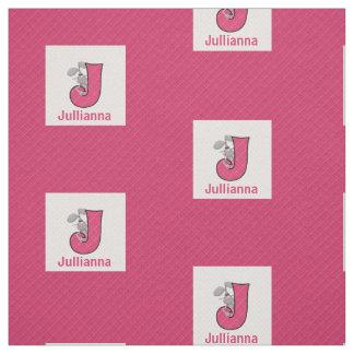 "Kid's Monogrammed ""J"" Pink Jack Rabbit Fabric"