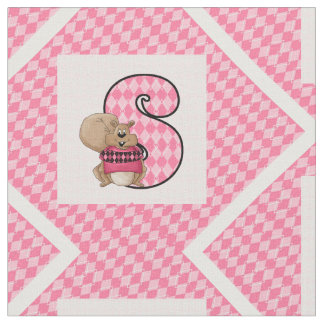 """Kid's Monogrammed """"S"""" Pink Squirrel Fabric"""