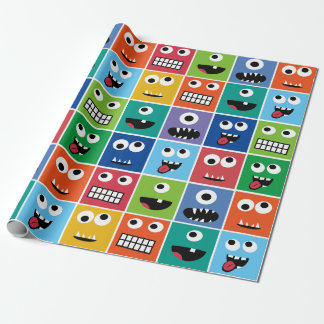 Kids Monsters Pattern Monster Faces Colorful Funny