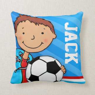 Kids name boys football soccer blue pillow cushion