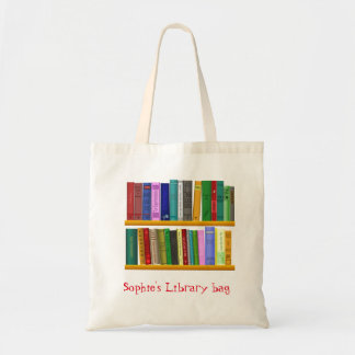 Kid's name cute book library bag