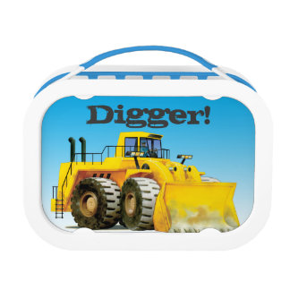 Kids Name Giant Yellow Construction Mining Digger Lunch Box