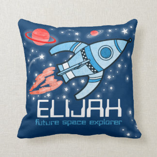 Kids name rocket space explorer blue Elijah pillow
