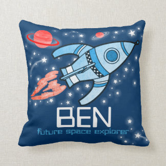 Kids name rocket space explorer blue pillow