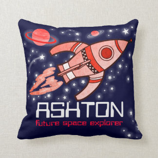 Kids name rocket space explorer navy red pillow