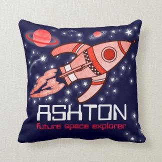 Kids name rocket space explorer navy red pillow throw cushion