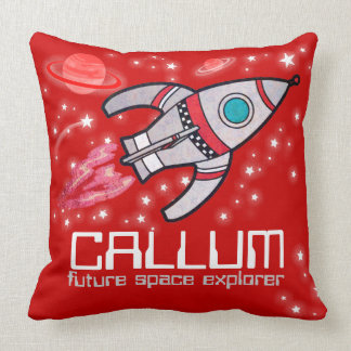 Kids name rocket space explorer red pillow